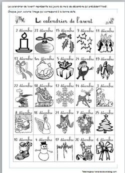 Noel CP : calendrier de l'avent à découper et colorier