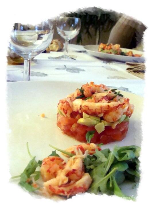 Ecrevisses tomates avocat