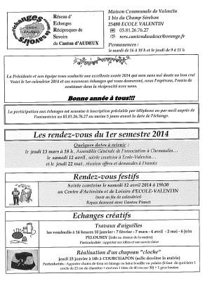 calendrier 2014 echanges et savoirs semestre 1