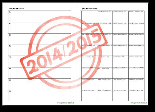 Planning des périodes 2014/2015 (Zone B)