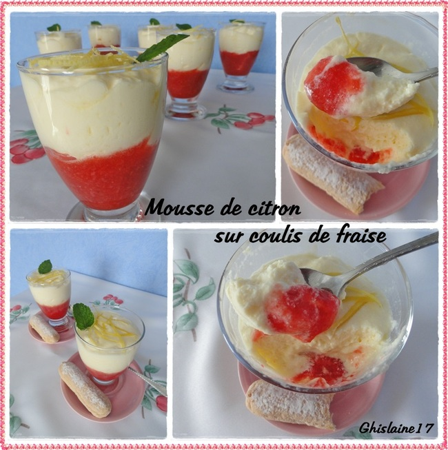 Mousse de citron sur coulis de fraise