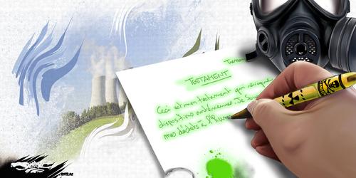 dessin de JERC et AKAKU du jeudi 28 juin 2018 caricature Déchets nucléaires pour l'éternité Hip Hip Hip Hourra... Nium ! Hip Hip Hip Hourra... dié ! www.facebook.com/jercdessin @dessingraffjerc