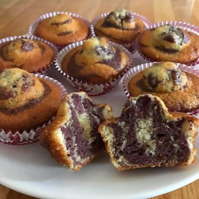 Mini gâteaux zébré au beurre de cassis