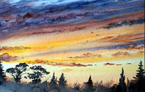 Dessin et peinture - vidéo 2100 : Comment peindre un coucher de soleil à l'aquarelle ?