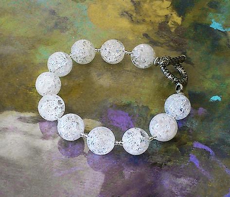 Bracelet Cristal de Roche craquelé  / Plaqué Argent