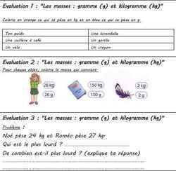 Mini-évaluations de mesures et grandeurs CE1