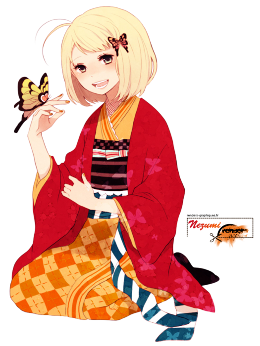 Render Ao no Exorcist - Renders Moriyama Shiemi Blue Exorcist Ao no Kimono Papillon Blonde Assise Orange Rouge Artiste Ono