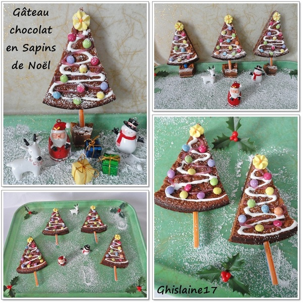 Gâteau chocolat en petits sapins de Noël