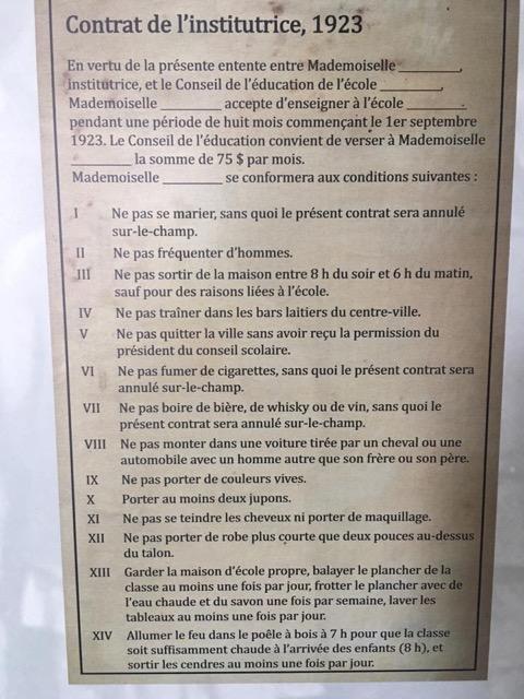 Contrat d'enseignante en 1923