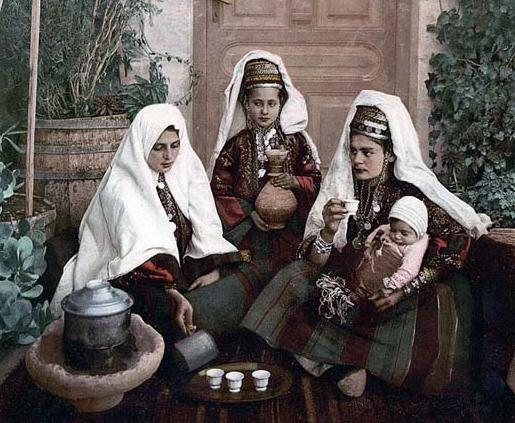 Group of women of Bethlehem, Holy Land, i.e., West Bank