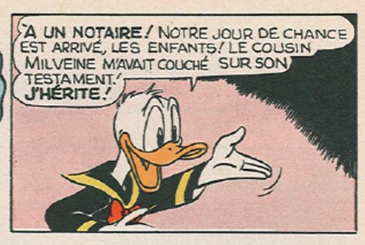 Donald couché sur le testament du cousin Milvène
