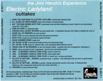 Chutes de studio: Jimi Hendrix - Electric Ladyland Outtakes