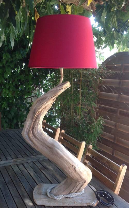 lampe en bois flotté d un metre
