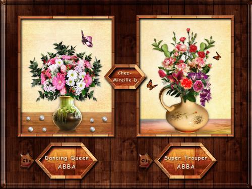 Duo de Cartes-Bouquets Musicales Années 80