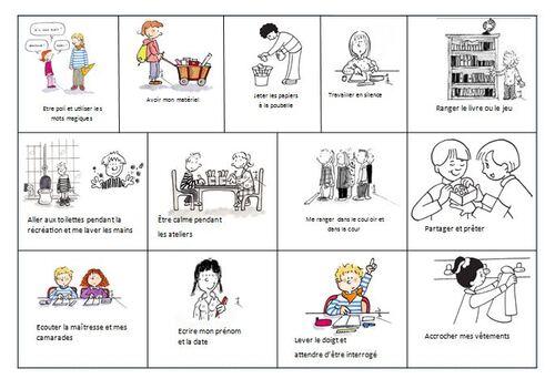 Règles de vie de la classe et de l'école CP