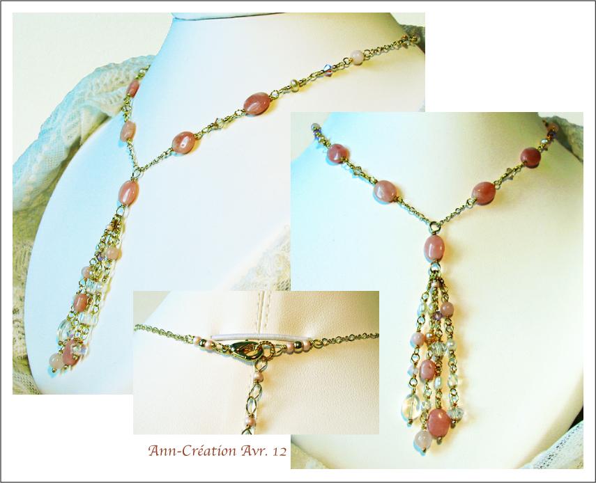 Collier Grappe Opale Rose, Quartz Rose, Cristal de Roche... / Plaqué Or GF 14kt