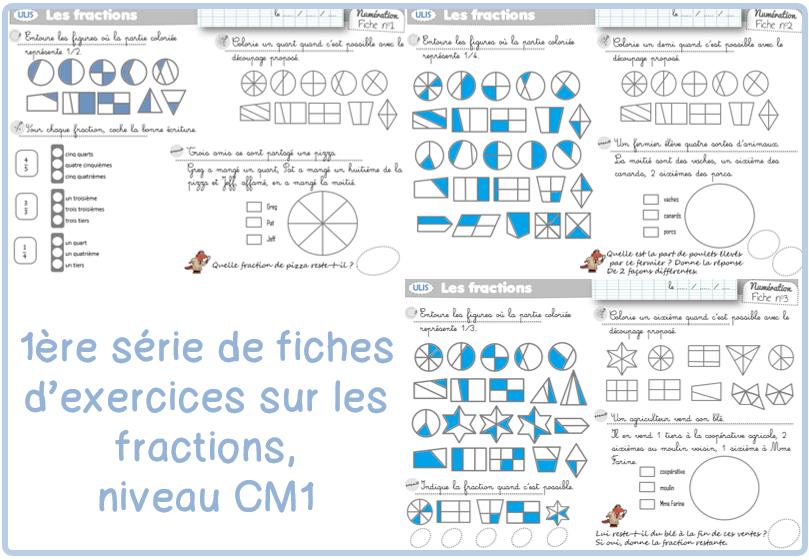 Exercices sur les fractions la fouine en clis - Les fractions cm1 exercices a imprimer ...