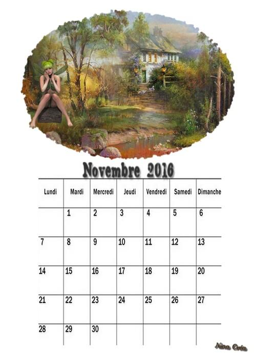 Calendrier de Novembre 2016