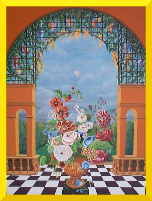 Pergola et fleurs