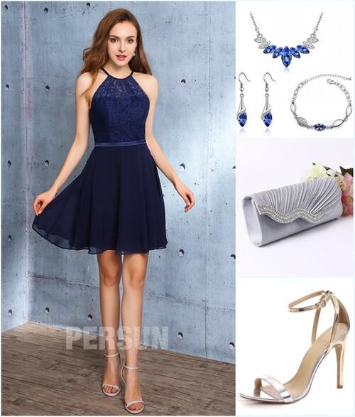 robe bleu nuit courte et accessoires pour mariage