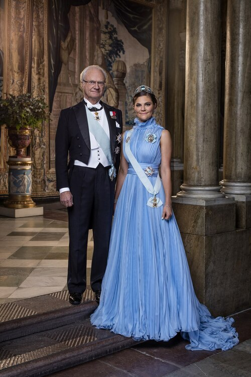 Le roi de Suède et sa fille Victoria, princesse héritière