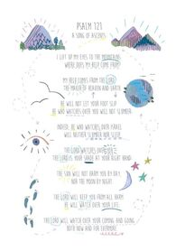 A4 Hand Illustrated Text - Psalm 121