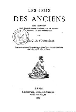 0D110 Les jeux des anciens 1873 (Becq de Fouquiéres)