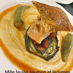 Mille feuilles de saumon et légumes
