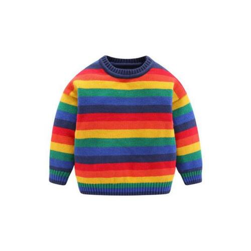kiskissing wholesale kid boy colorful stripe pullover sweater