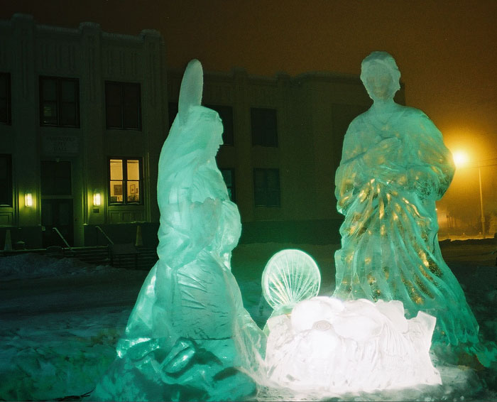 Sculpture de glace : La nativité