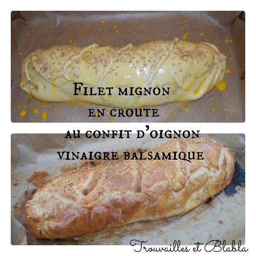 Filet mignon en croûte/confit d'oignon au vinaigre Balsamique