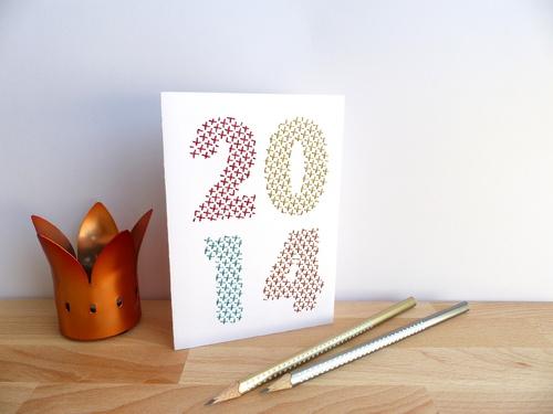 Carte Nouvel An brodée main 2014 point de croix fils brillants rouge, or, turquoise, cuivre
