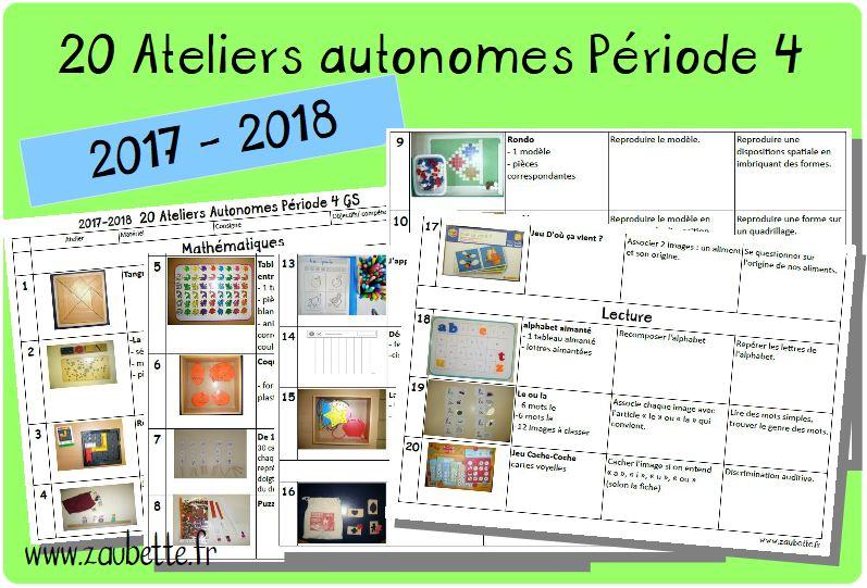 20 ateliers autonomes individuels GS période 4 2017 2018