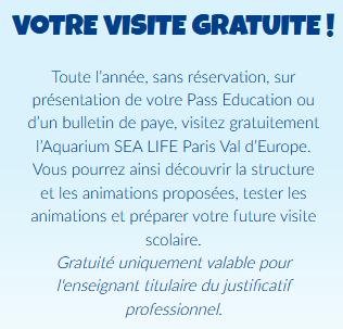 Entrée gratuite Sea Life