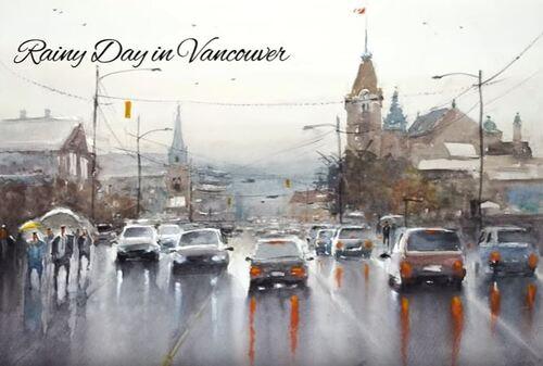 Dessin et peinture - vidéo 3581 : Un jour de pluie à Vancouver ( Canada) - aquarelle.