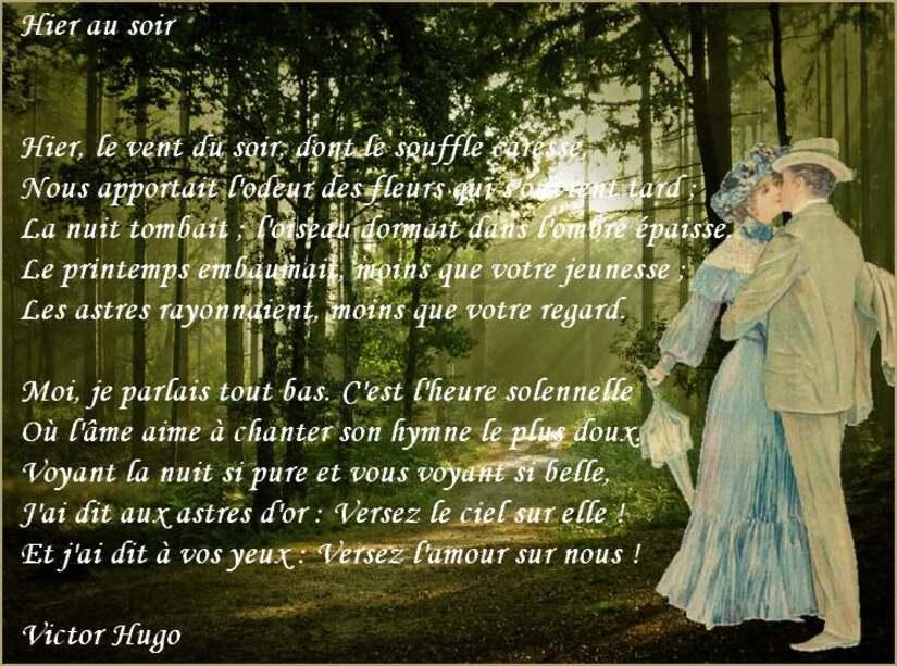 """"""" Hier au soir """" poème de Victor Hugo"""