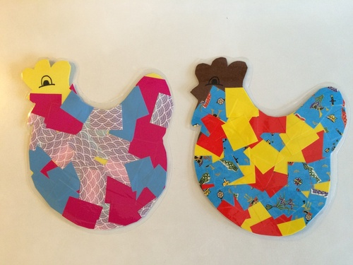 Collages : la poule patchwork