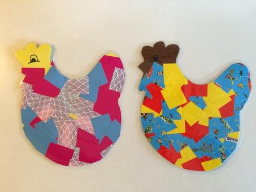 Collages : la poule patchwork
