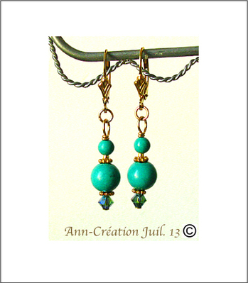 Boucles Dormeuses Turquoise 2 - Plaqué Or Gold Filled / Turquoise earrings Gold filled