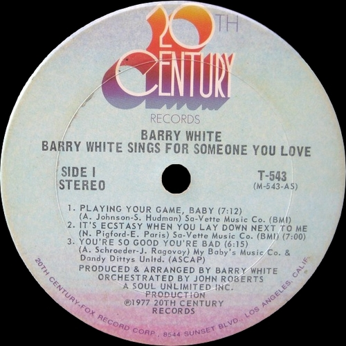 "Barry White : Album "" Barry White Sings For Someone You Love "" 20Th Century Records T-543 [ US ]"