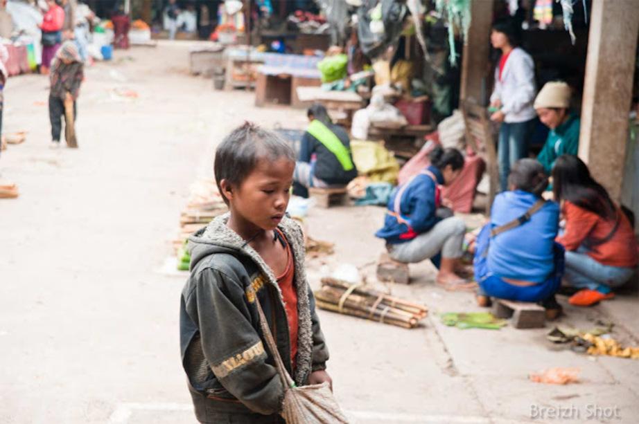 enfant errant - marché de Luang Namtha