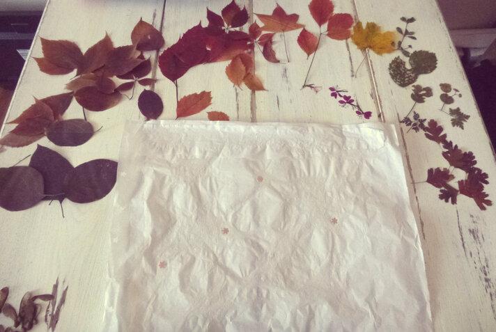 Les feuilles séchées, recyclage d'un vieil abat-jour
