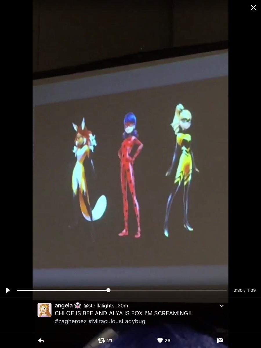 "miraculous-ladybug-news: ""OH MY GOD, IS CONFIRMED!!!!! VOLPINA ALYA AND QUEEN BEE CHLOE. I WAS RIGHT ABOUT ALYA BEING THE TRUE VOLPINA AND CHLOE BEING QUEEN BEE ( IS CONFIRMED AND CANON , DEAL WITH IT) I JUST HOPE NINO WILL BE THE TURTLE HOLDER. """