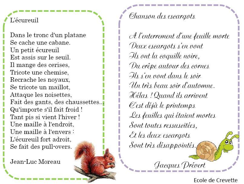 Poésies Autour De Lautomne Lécole De Crevette