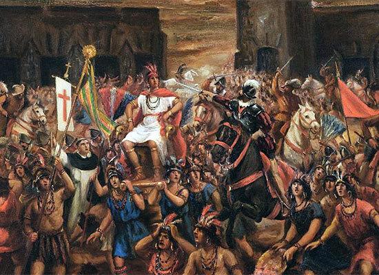 Capture de l'Inca Atahualpa par Pizarro à Cajamarca