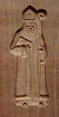 moule à speculoos artisanal en bois Saint Nicolas 15cm - Arts et sculpture: sculpteurs contemporains