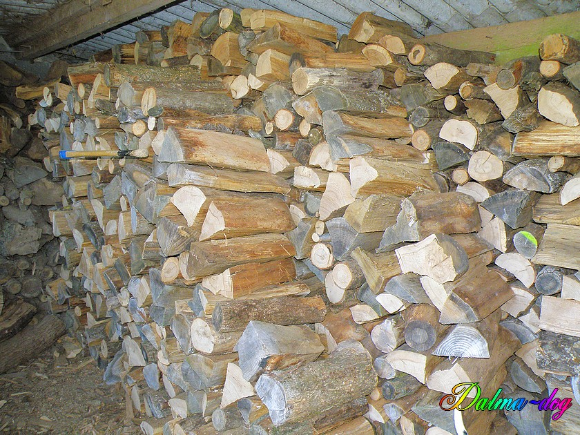 le bois de chauffage est rangé
