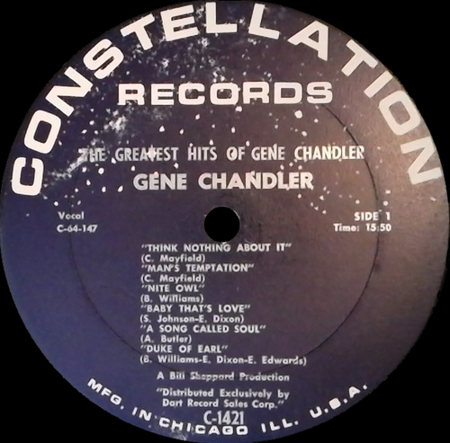 "Gene Chandler : Album "" The Greatest Hits Of Gene Chandler "" Constellation Records LP 1421 [ US ]"