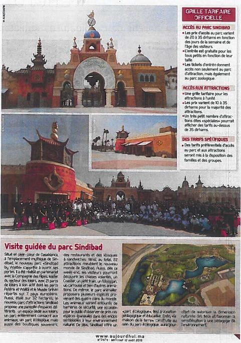 Les tarifs officielles du parc Sindibad Casablanca