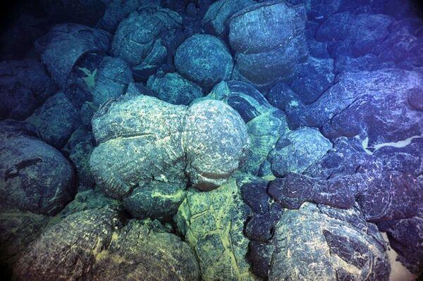 Sous l'eau, au niveau des dorsales océaniques, les laves basaltiques s'épanchent en donnant des laves en coussins comme celles sur cette photo. En se refroidissant, elles s'aimantent et gardent la mémoire de la polarité et de l'intensité du champ magnétique terrestre. © University of Washington